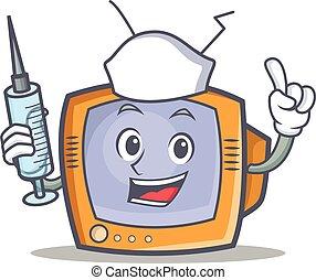fernsehapparat, krankenschwester, gegenstand, zeichen, karikatur