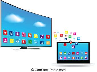 fernsehapparat, laptop, apps, klug
