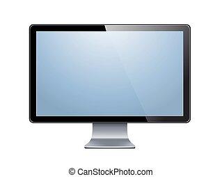 fernsehapparat, lcd, monitor, freigestellt