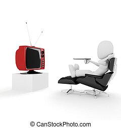 fernsehapparat, mann, 3d, aufpassen