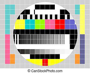 fernsehapparat, muster, signal, mehrfarbig, retro, pr�fung