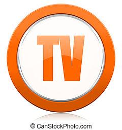 fernsehapparat, orange, ikone, fernsehen, zeichen