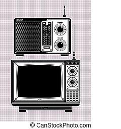 fernsehapparat, radio
