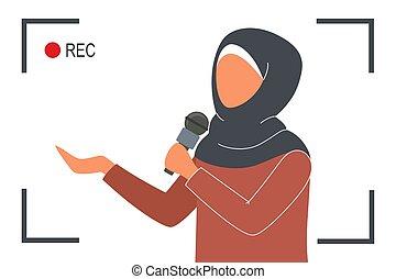 fernsehapparat reporter, weibliche , schöne , news., moslem, sprechen