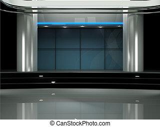 fernsehapparat satz, studio, virtuell, 3d