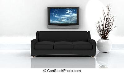 fernsehapparat, sofa, render, 3d