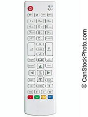 fernsehapparat, steuerung, weißes, modern, entfernt