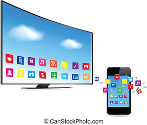 fernsehapparat, telefon, apps, klug