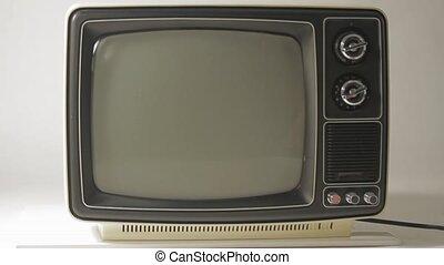 fernsehapparat, weißes, schwarz