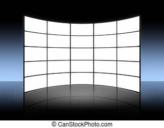 fernsehapparat, weißes, tafel