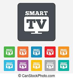fernsehen, fernsehapparat, set., widescreen, zeichen, icon...