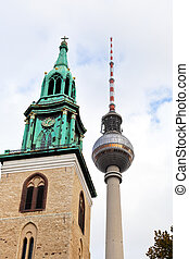 tv tower and marienkirche in Berlin