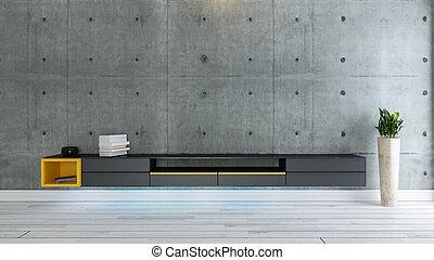 fernsehzimmer, innenarchitektur, idee, mit, betonwand
