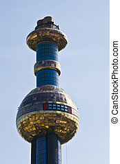 detail of the colorful community heating plant designed by Hundertwasser in Vienna
