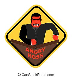 Ferocious boss. Chief, businessman red with anger. Breaks the table with his fist. Vector sticker, sign.