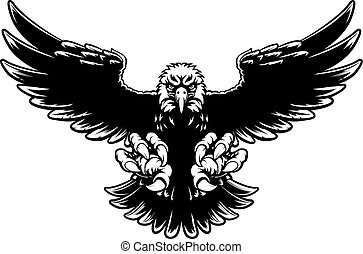 Ferocious Eagle Mascot - Black and white American bald eagle...