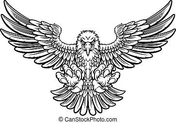 Ferocious Eagle - Woodcut style American bald eagle mascot...