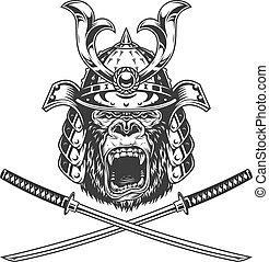 Ferocious gorilla head in samurai helmet