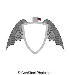 Ferocious gray bird heraldic element for  coat of arms. White shield is a symbol of protection.