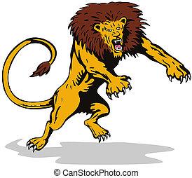 Ferocious lion attacking - Illustration on wildlife
