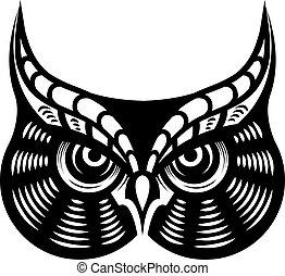 feroz, olhar, coruja horned