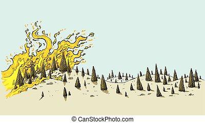 feroz, selvagem, fogo, paisagem