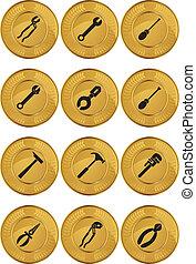 ferramenta, ícones, moeda