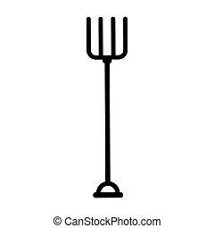 ferramenta, ancinho, jardinagem, ícone