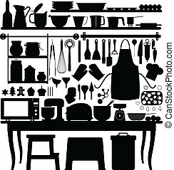 ferramenta, assando, massa, cozinha