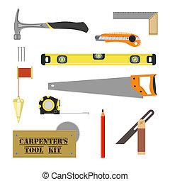 ferramenta, carpenter`s, equipamento