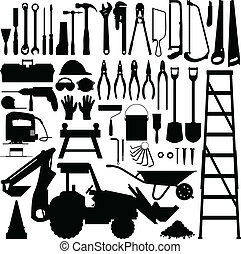 ferramenta construção, silueta, vetorial
