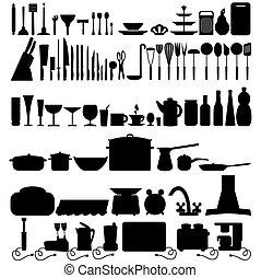 ferramenta cozinha, ícones, cobrança