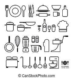 ferramenta cozinha, ícones, cobrança, /, lata, ser, usado,...