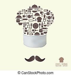 ferramenta cozinha, ícones, ligado, chapéu cozinheiro, conceito, /, lata, ser, usado, para, infographics, /, gráfico, ou, site web, esquema, vector/horizontal