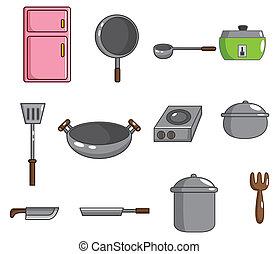 ferramenta, cozinha, caricatura, ícone