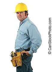 ferramenta, homem, -, vista lateral