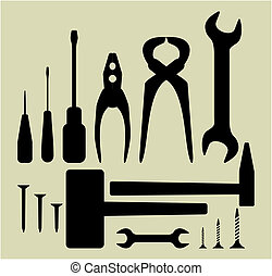 ferramenta, jogo, silueta, mão