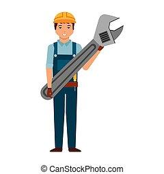 ferramenta, trabalhador, chave, homem