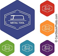 ferramenta, vetorial, metal, hexahedron, ícones
