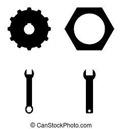 ferramentas, ícone, jogo
