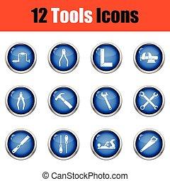 ferramentas, ícone, set.