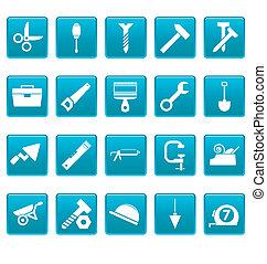 ferramentas, ícones, ligado, azul, quadrados