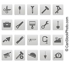 ferramentas, ícones, ligado, cinzento, quadrados