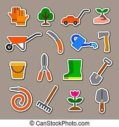 ferramentas, adesivos, jardim