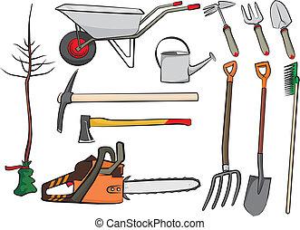 ferramentas ajardinando