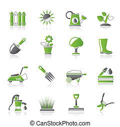 ferramentas ajardinando, e, objetos, ícones