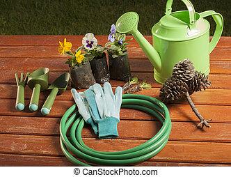 ferramentas ajardinando, grama, jardim