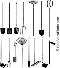 ferramentas ajardinando, mão