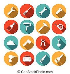 ferramentas, apartamento, ícones, jogo