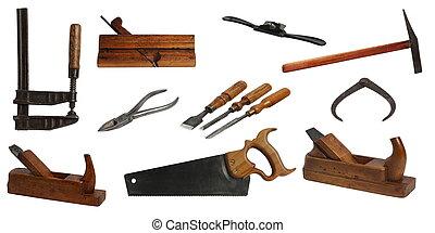 ferramentas, carpinteiro, sortido